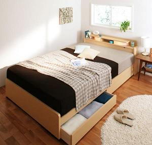 照明・棚付き収納ベッド