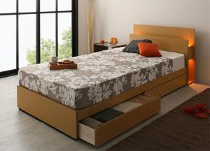 上級デザインモダンライト付き収納ベッド